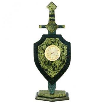 Часы щит и меч камень змеевик 120х70х300 мм 1060 гр.