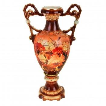 Ваза напольная форма флорена хризантема коричневая