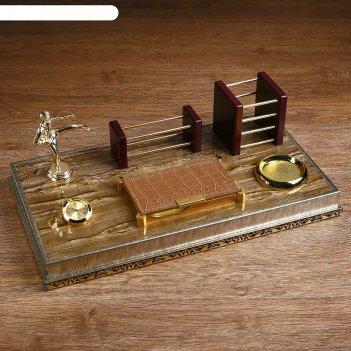 Набор настольный «золото»: часы, визитница, блок для бумаги, подставка для