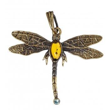 Am-1221 подвеска стрекоза со стразом (латунь, янтарь)