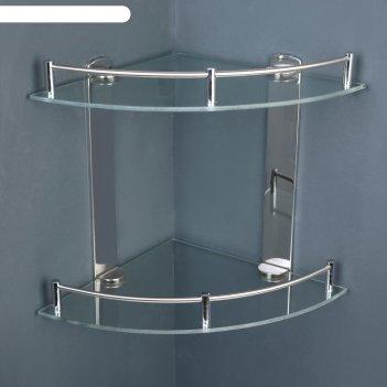 Полка 2х-ярусная угловая для ванной комнаты, нерж.сталь, стекло