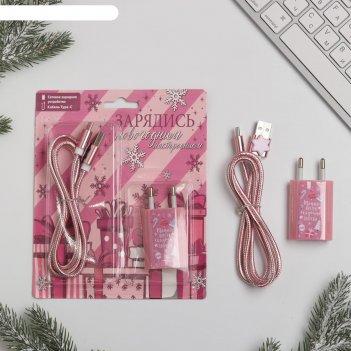 Набор: штекер и кабель type-c «новогоднее настроение», 16,8 х 16,9 см