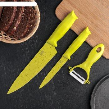 Набор ножей с антиналипающим покрытием green и керамической овощечисткой,