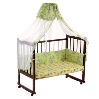 Комплект в кроватку, 2 предмета, зеленый, рисунок микс