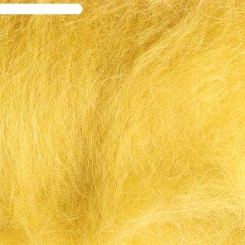 Шерсть для валяния кардочес 100% полутонкая шерсть 200гр (099 св.горчица)