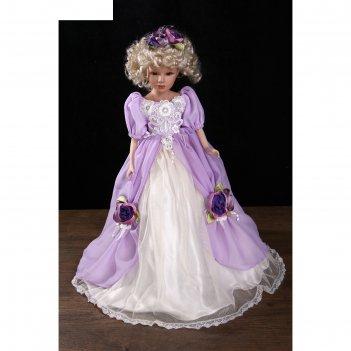 Кукла-светильник коллекционная керамика леди оливия в нежно-сиреневом плат