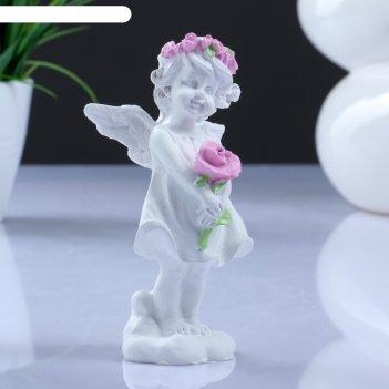 Фигура ангел с розой акрил 6х6,5х13см
