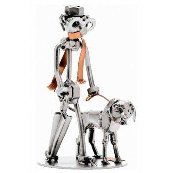 270 прогулка с собакой (боксер) h17 см