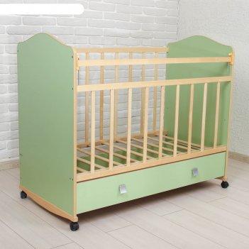 Детская кроватка морозко с ящиком, цвет зеленый