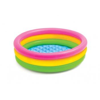 Бассейн радуга с надувным дном, intex