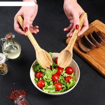 Набор деревянных ложек для салата, 22х5 см, массив дуба