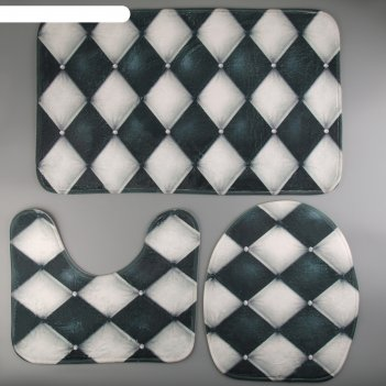 Набор ковриков для ванны и туалета «ромбы», 3 шт: 37x45, 37x45, 45x75 см