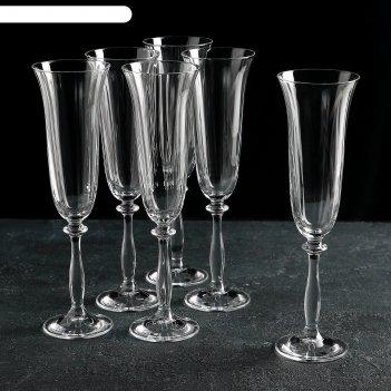 Набор бокалов для шампанского 190 мл 6 шт анжела
