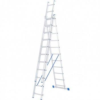 Лестница, 3 х 11 ступеней, алюминиевая, трехсекционная сибртех pоссия