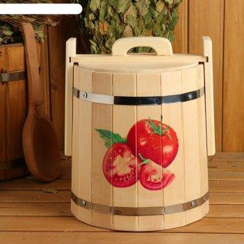 Кадка из липы, 10л, нержавеющий обруч, с крышкой, с уф-печатью помидорчики