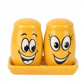 Набор для специй солонка/ перечница smile 11*6*8,5см. (на керамической под