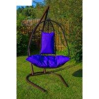 Подвесное кресло на стойке корфу, черное/синяя