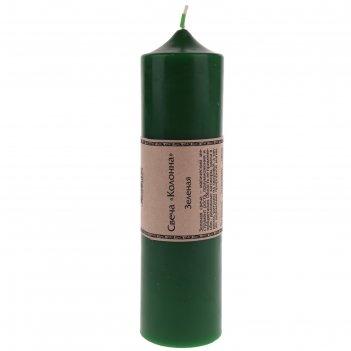 Свеча-колонна, 58 x 58 x 220 мм, цвет зелёный