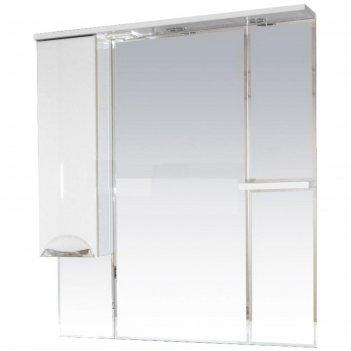 Шкаф-зеркало misty кристи 90, левый, с подсветкой, черный