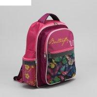 Рюкзак школьный бабочки, отдел на молнии, 3 наружных кармана