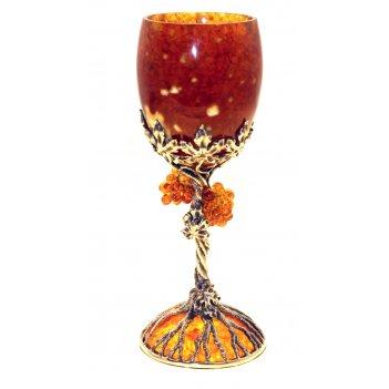 Бокалы из янтаря для вина виноград набор на 2 персоны (ювелирная бронза)
