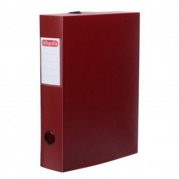Короб архивный на кнопке разборный, 70мм, пластик, 800мкм, красный