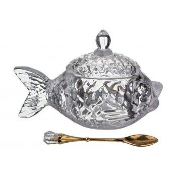 Икорница рыбка с ложкой 15*7*10 см. коллекция muza (кор=24шт.)