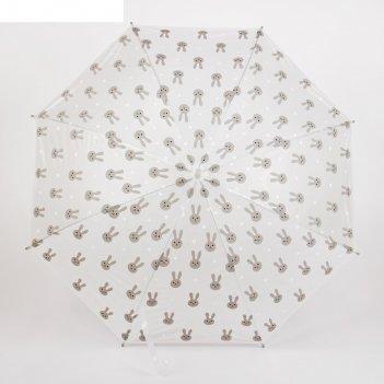 Зонт детский зайчики, полуавтоматический, r=44см, цвет серый/прозрачный