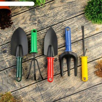 Набор садового инструмента, 5 предметов: 2 совка, рыхлитель, вилка, корнеу