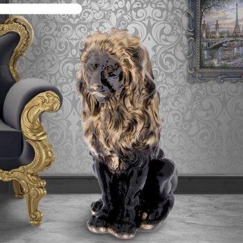 Статуэтка лев чёрно-золотой, гипс, 52 см