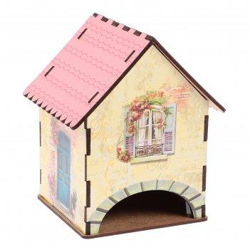 Чайный домик домик желтый с розовой крышей 15х10х10 см