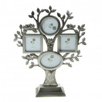 Фоторамка на 4 фото 5х5 см, 5х8 см дерево с птичками