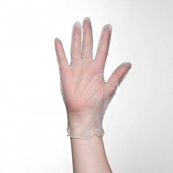 Перчатки хозяйственные винил, размер l, 100 шт