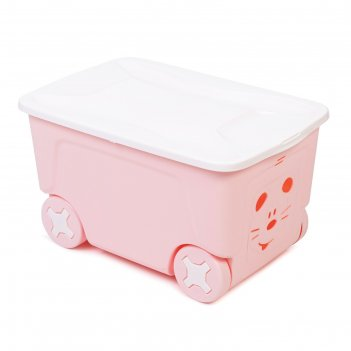 Детский ящик для игрушек cool на колесах 50 литров ,   цвет розовый
