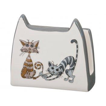 Салфетница озорные коты 12*5*11 см без упаковки (мал=4шт./кор=48шт.)