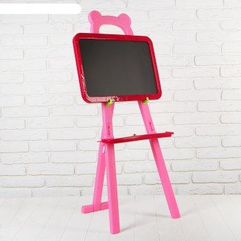 Мольберт с двусторонней доской для рисования мишка, розовый