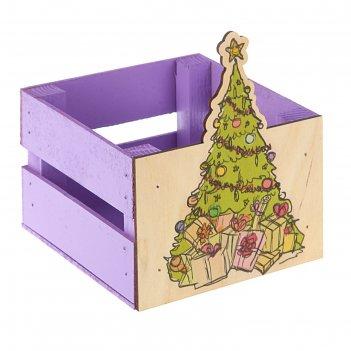 Ящик реечный елочка (печать)13х13х9/15 см, фиолетовый