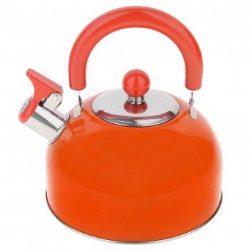 Чайник из нержавеющей стали 2 л со свистком, оранжевый