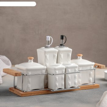 Набор для специй и соусов эстет. венеция, 6 предметов на подставке