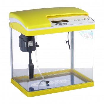 Аквариум seastar hx-319f 18 л, желтый (led-лампа, топ-фильтр, датчик темпе