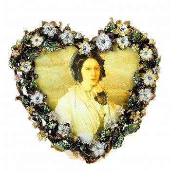 Фоторамка цветочное сердце эмаль/стразы 13х13 см