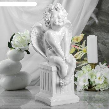 Статуэтка ангел на тумбе, белая, 44 см