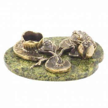 Подсвечник царевна лягушка бронза змеевик 130х95х30 мм 450 гр.