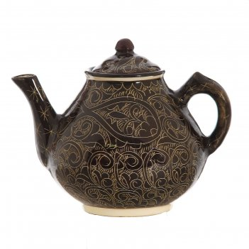 Чайник большой 1,8л роспись риштан  цвет коричневый