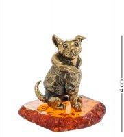 Am-1955 фигурка собака шарик (латунь, янтарь)