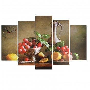 Часы настенные модульные «дары осени», 80 x 140 см