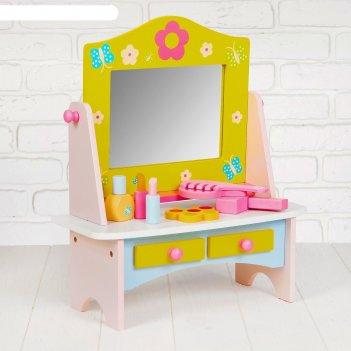 Игровой набор туалетный столик, деревянные принадлежности в комплекте