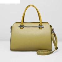 Сумка женская на молнии, 1 отдел, наружный карман, длинный ремень, цвет жё