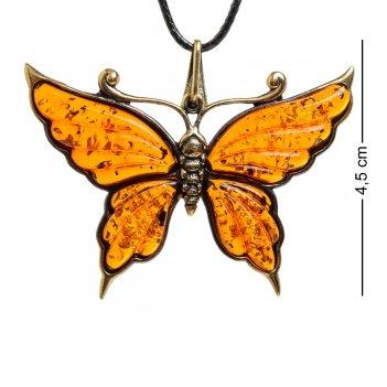 Am-1595 подвеска бабочка нитта (латунь, янтарь)