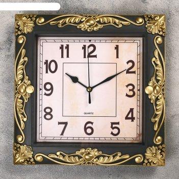 Часы настенные, серия: интерьер, мюзле, бронзовые, 26х26 см микс
